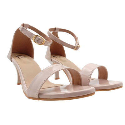 Elegant Synthetic Off-White Ankle Pencil Heel Sandal (3 Inch)