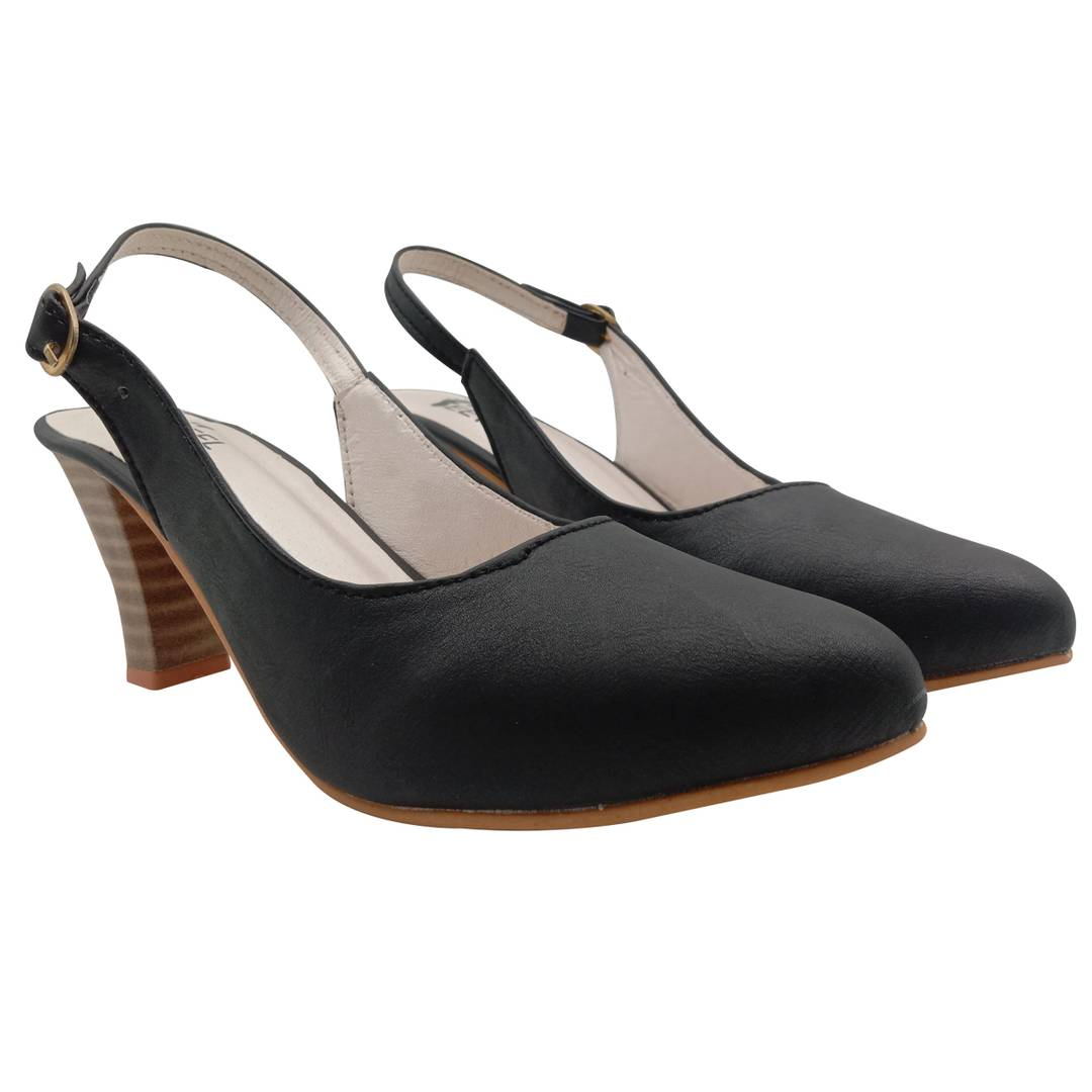 Elegant Synthetic Black Block Cone Heels Bellies Sandal (3 Inch)