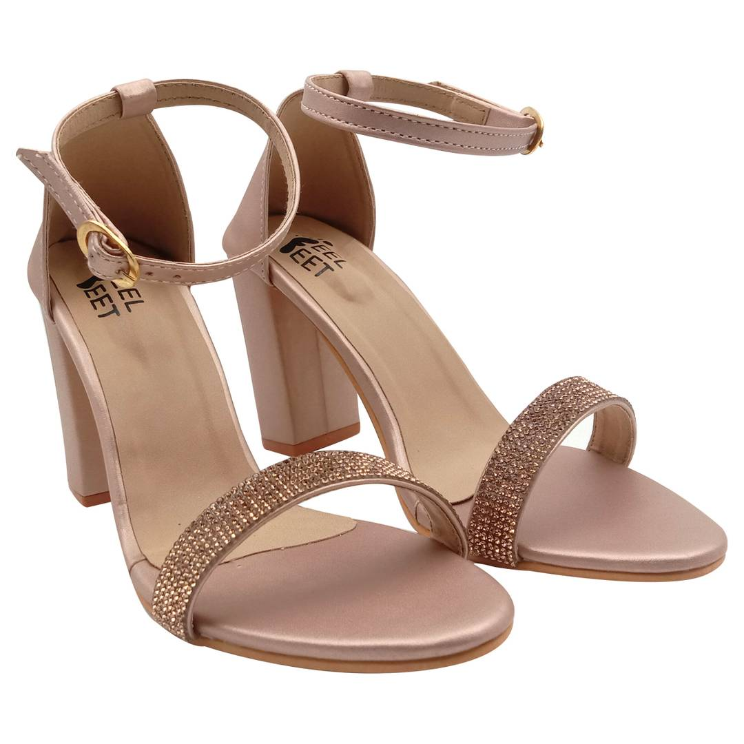 Elegant Synthetic Block Ankle Heel Sandal (4 Inch)