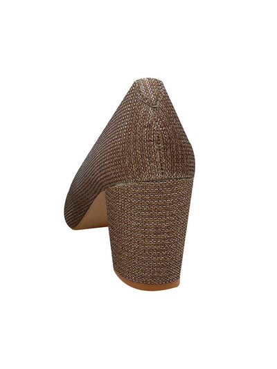 Elegant Synthetic Golden Close Toes Bellies Block Heel (3 Inch)
