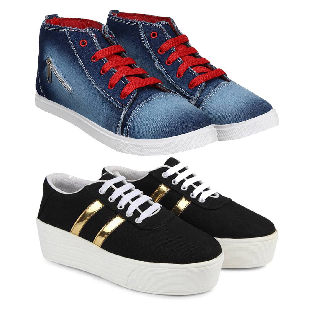 Pack of 2 Women's Stylish Casual Sneakers