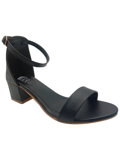 Stylish Synthetic Black Ankle Block Heels Sandals For Women