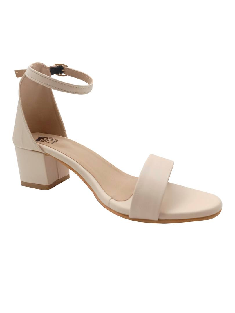 Stylish Synthetic Beige Ankle Block Heels Sandals For Women