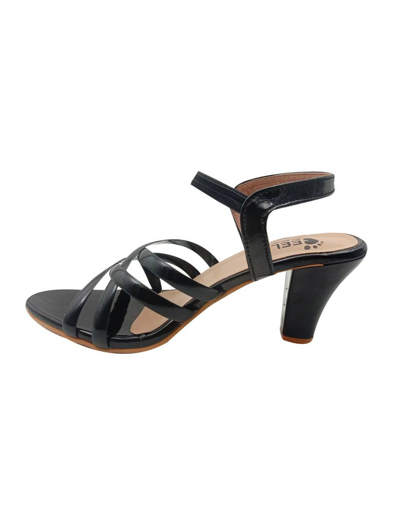 Stylish Synthetic Black Cone Heel Sandals For Women