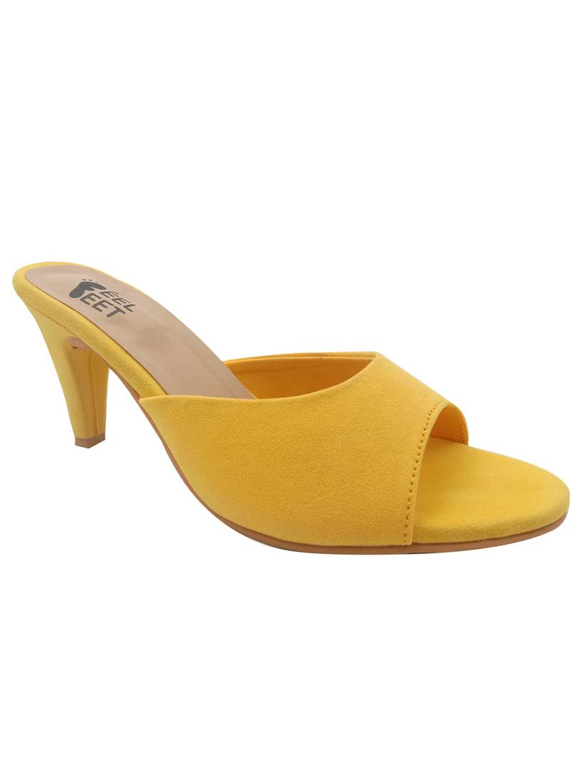 Stylish Synthetic Lemon Yellow Pencil Heel Sandals For Women