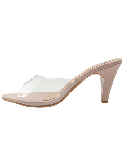Stylish Synthetic Light Pink Pencil Heel Sandals For Women