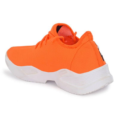 Men's Stylish and Trendy Orange Self Design Canvas Casual Sports Shoes