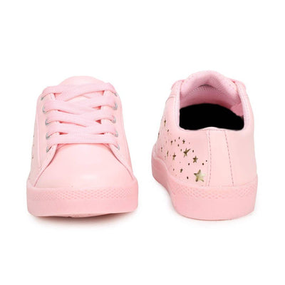 Women's Pink Synthetic Woven Design Sneakers