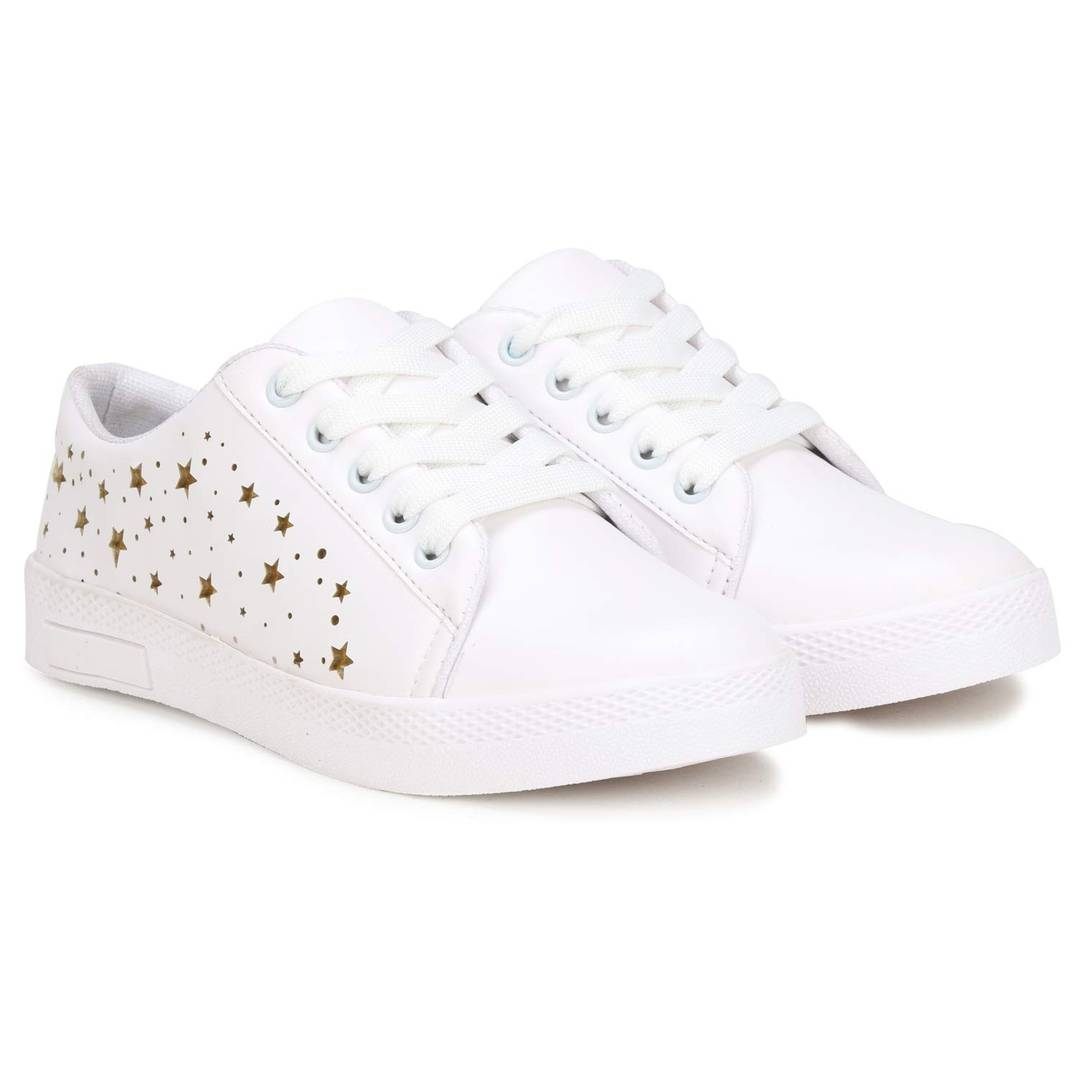 Women's White Synthetic Woven Design Sneakers