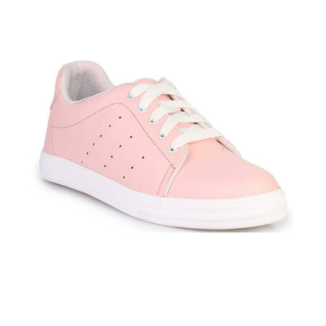 Stunning Peach Synthetic Leather Self Design Sneakers For Women
