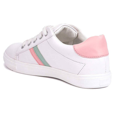 Stunning White Synthetic Leather Solid Sneakers For Women