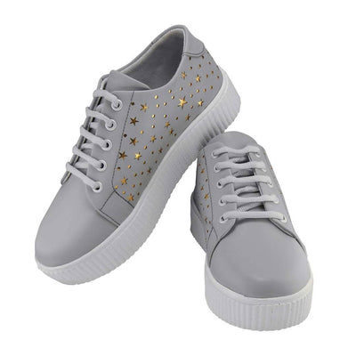 Stunning Grey Synthetic Leather Self Design Sneakers For Women