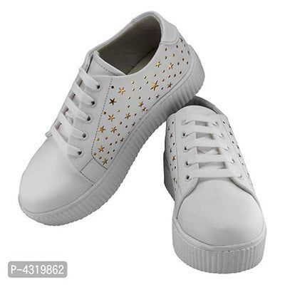 Stunning White Synthetic Leather Self Design Sneakers For Women