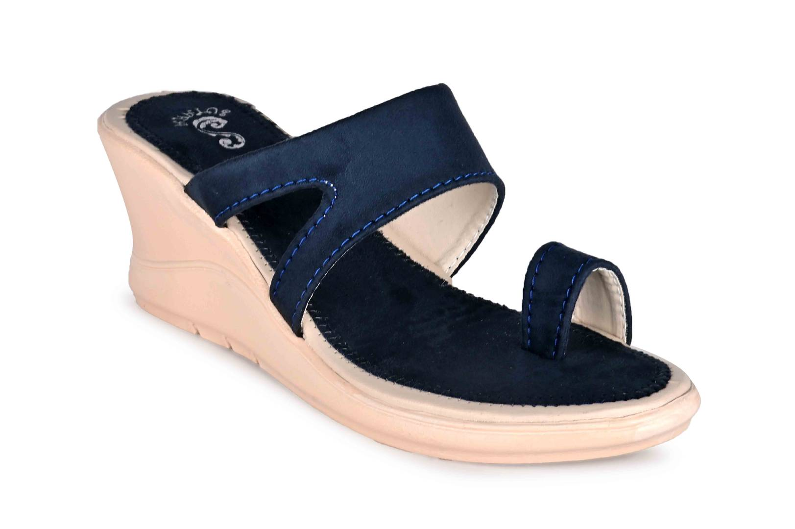 Women's Trendy Blue Solid Synthetic Wedges