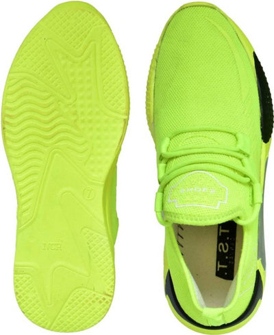 Men's Stylish and Trendy Green Solid Synthetic Casual Sneakers