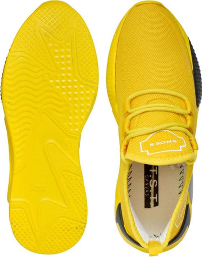 Men's Stylish and Trendy Yellow Solid Synthetic Casual Sneakers