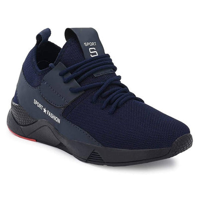 Men's Stylish and Trendy Navy Blue Solid Mesh Casual Sports Shoes