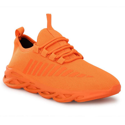 Men's Stylish and Trendy Orange Solid Mesh Casual Sports Shoes