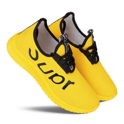 Men's Stylish and Trendy Yellow Printed Canvas Casual Sports Shoes