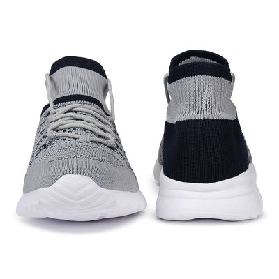 Men's Stylish and Trendy Grey Self Design Canvas Casual Sports Shoes