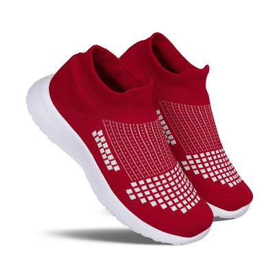 Men's Stylish and Trendy Red Printed Canvas Casual Sports Shoes