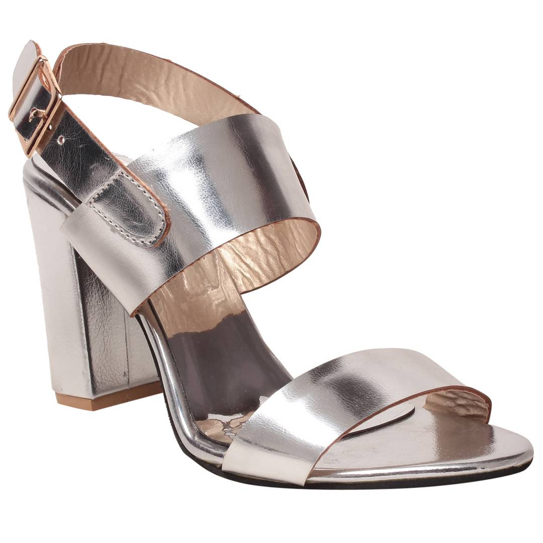 Synthetic silver stylish Fancy Heels for women
