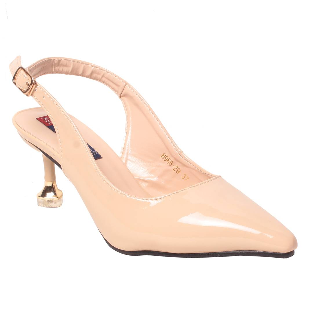 Women Synthetic Cream Heels