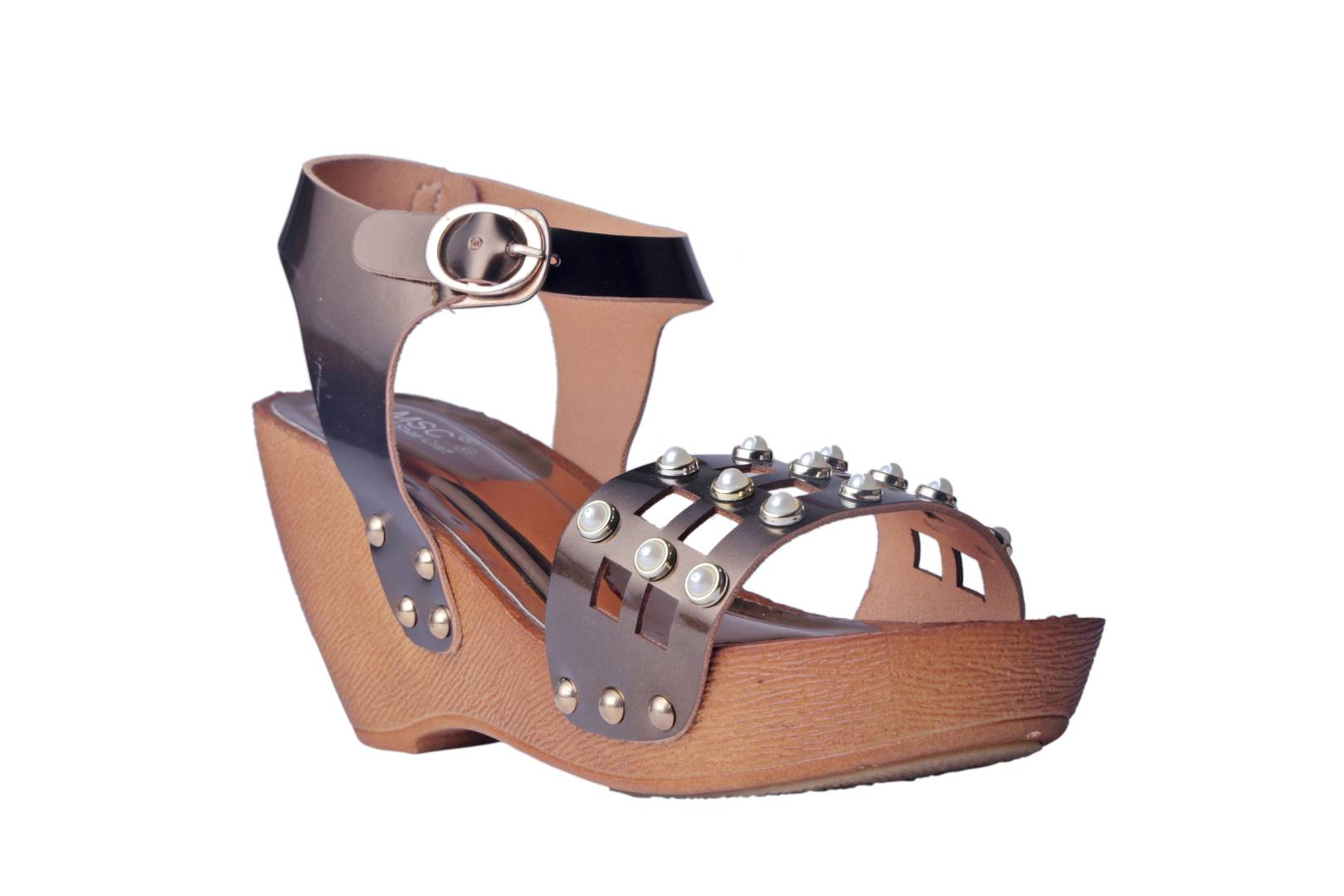Women Synthetic Copper Wedges
