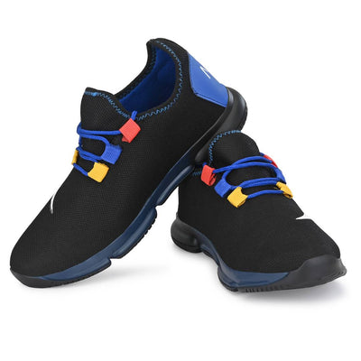 Men's Stylish and Trendy Black Self Design Rubber Casual Sports Shoes