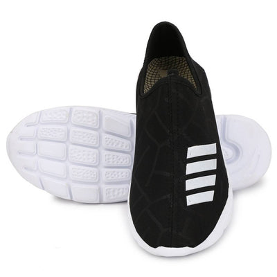 Men's Stylish and Trendy Black Striped Mesh Casual Sports Shoes