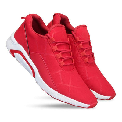 Men's Stylish and Trendy Red Solid Fabric Casual Sports Shoes
