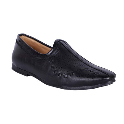 Men's Stylish and Trendy Black Solid Synthetic Slip-On Jutti