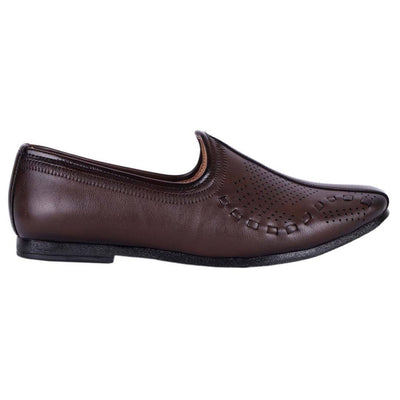 Men's Stylish and Trendy Brown Solid Synthetic Slip-On Jutti