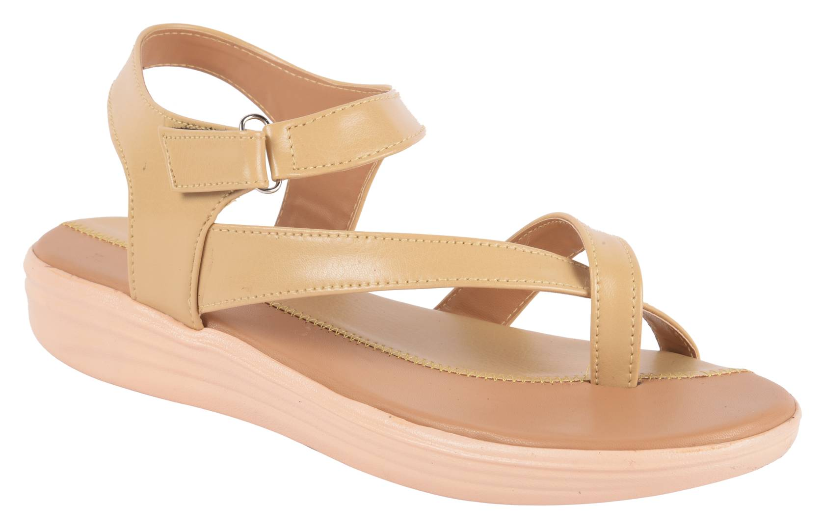 Women's Stylish and Trendy Beige Solid Synthetic Fancy Sandals