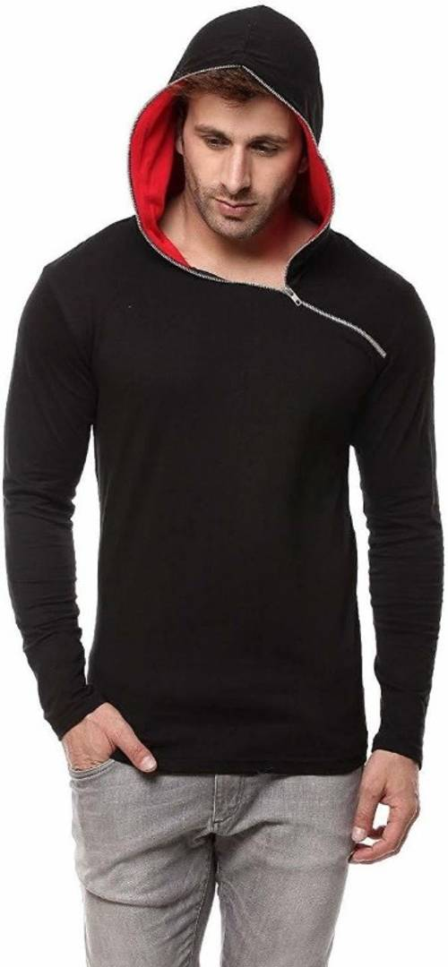 MEN COTTON ZIPPER AND HOODED T-SHIRT.