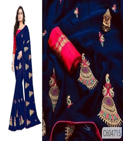 Chiffon Embroidery Work Regular Sarees