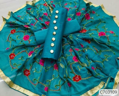 Trendy Silk Cotton Embroidery With Button Work Dress Material