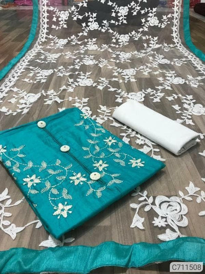 Satin Glace Cotton Embroidered Dress Materials