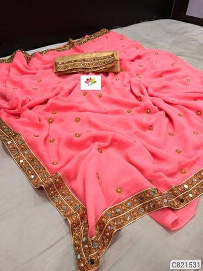 Beautifull Heavy Marble Embroidered With Lace Border Regular Sarees