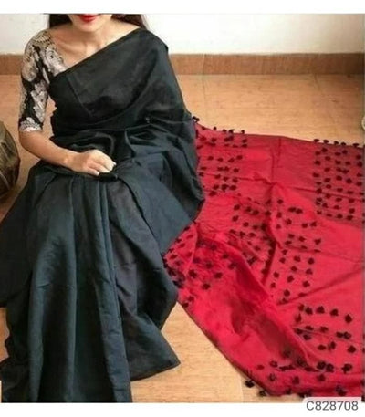 Handwoven Cotton Silk Sarees with Pompom Work