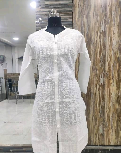 Women Cotton Chikan Kari Kurti
