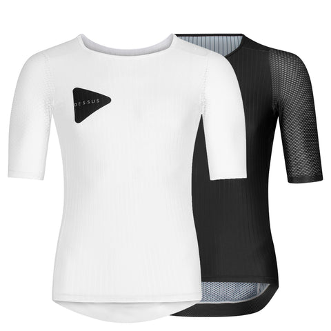 A white Dessus Aero cycling jersey sits in front of a black Dessus Nero Aero Jersey.