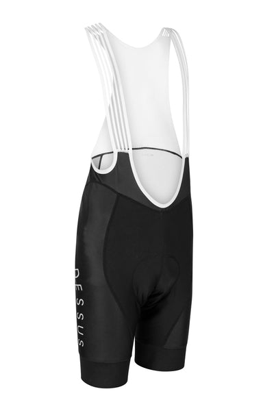 Dessus Pro Bib Shorts are premium cycling shorts, black with white bibs and logos. The Dessus Pro Bib Shorts can be customised to your design.
