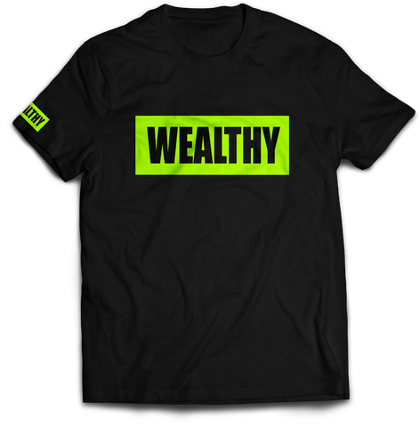 Wealthy Tee (Black/Neon Yellow)