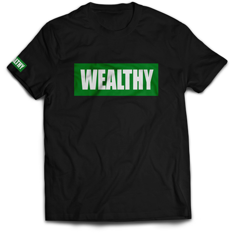 Image of Wealthy Tee (Black/Green/White)