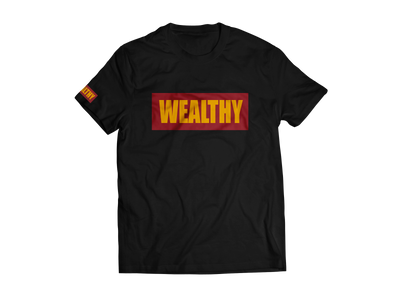 Wealthy Tee (Black/Burgundy/Yellow)