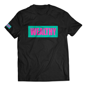 Wealthy Tee (Black/Teal/Hot Pink)