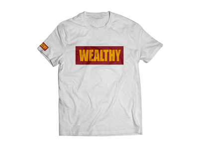 Wealthy Tee (White/Burgundy/Yellow)