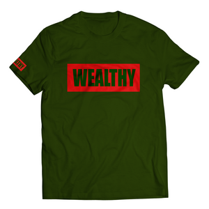 Wealthy Tee (Forest Green/Red)