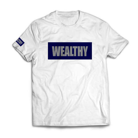 Wealthy Tee (White/Navy/Grey)